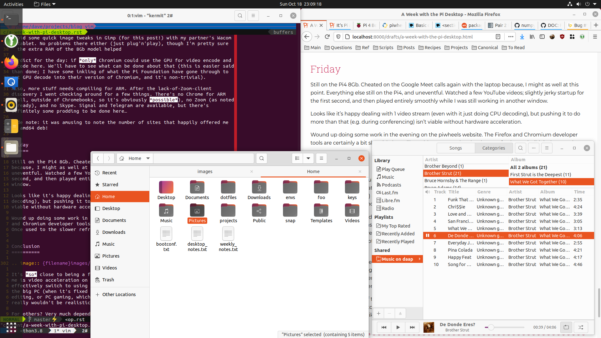 A collection of windows on the Ubuntu 20.10 Desktop running on the pi
